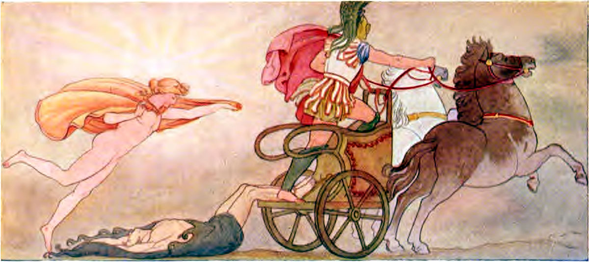 Hectors body dragged at the Chariot of Achilles