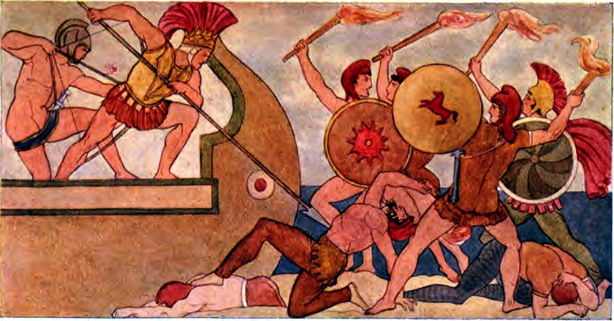 Iliad sang 15 Ajax defending the Greek Ships against the Trojans - Iliaden af Homer - Résumé og fuld version Illustreret