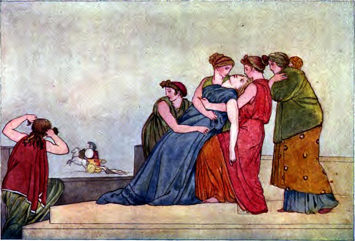Iliad Andromache fainting on the wall - Iliaden af Homer - Résumé og fuld version Illustreret