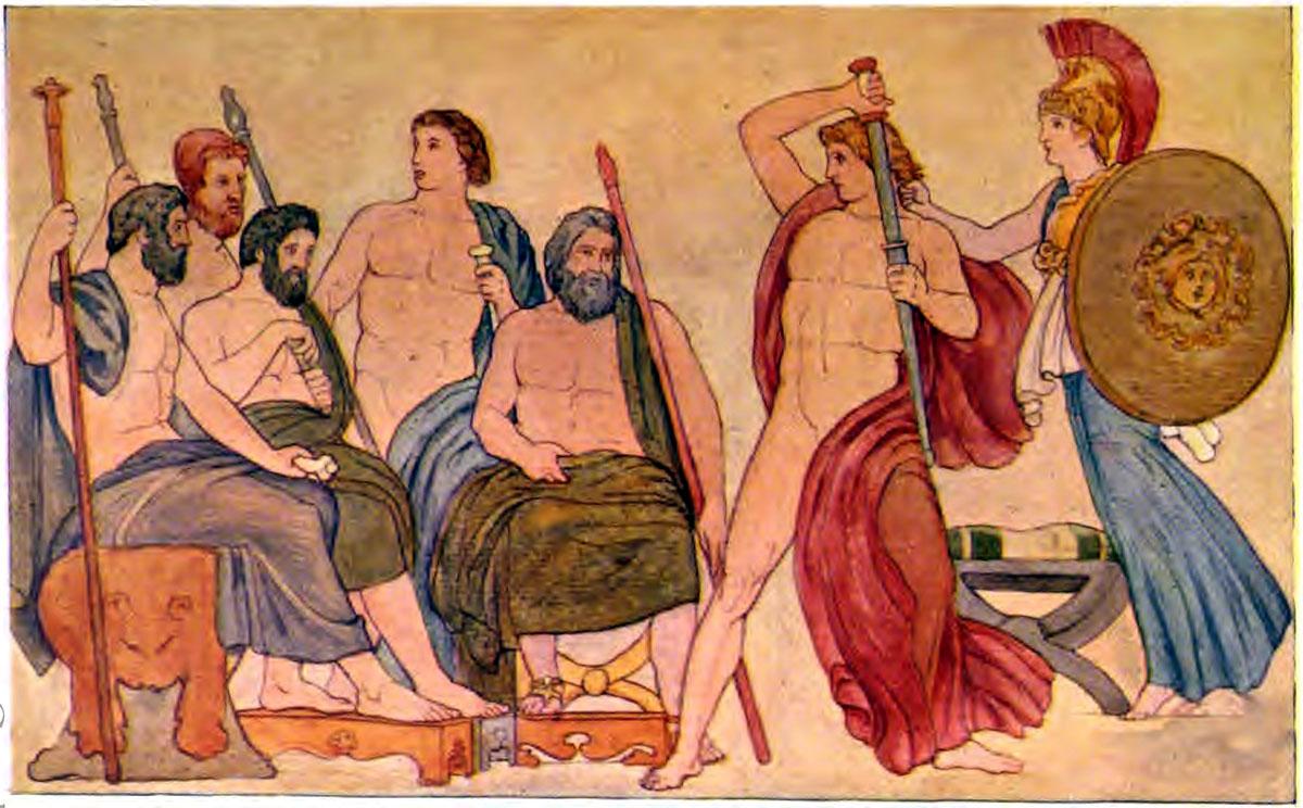 Iliad Athene suppressing the fury of Achilles - Iliaden af Homer - Résumé og fuld version Illustreret