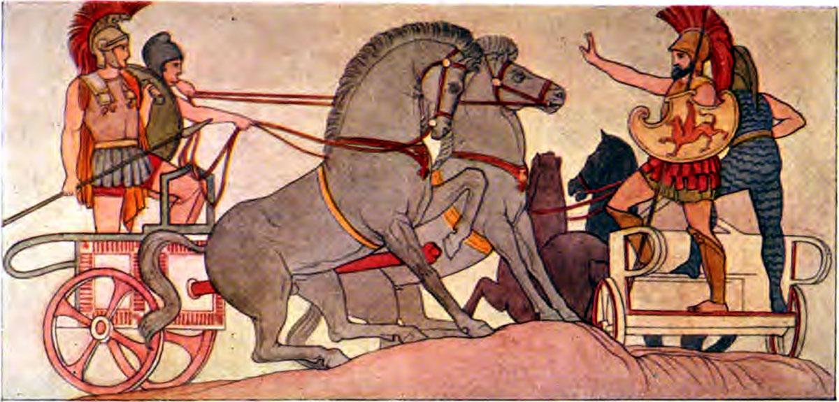 Iliad Polydamus advising Hector to retire from the trench - Iliaden af Homer - Résumé og fuld version Illustreret